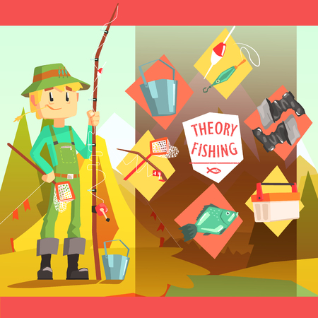 jumpsuit: Fisherman And Thing Needed For Fishong Infographic Cool Colorful Vector Illustration In Stylized Geometric Cartoon Design Illustration