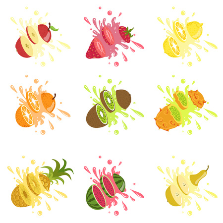 Fruits Cut In The Air Splashing The Juice Bright Color Cartoon Simple Style Flat Vector Set Of Stickers Isolated On White Background