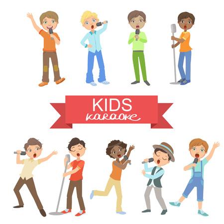 Muchachos jóvenes que cantan en Karaoke brillante del color de la historieta del estilo simple plana vector conjunto de pegatinas aislados en fondo blanco
