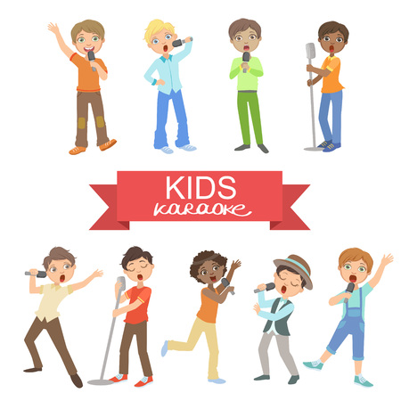 Young Boys Singing In Karaoke Helder Kleur Cartoon Simple Style Platte Vector reeks stickers Op Een Witte Achtergrond