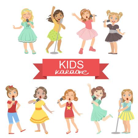 Las niñas joven que canta en el karaoke del color brillante de la historieta del estilo simple plana vector conjunto de pegatinas aislados en fondo blanco