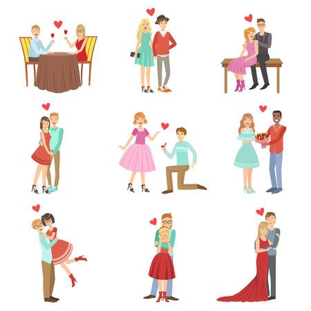 parejas romanticas: Las parejas de adultos en una fecha en color brillante de la historieta simple plana del estilo del vector Conjunto de pegatinas aislados sobre fondo blanco Vectores