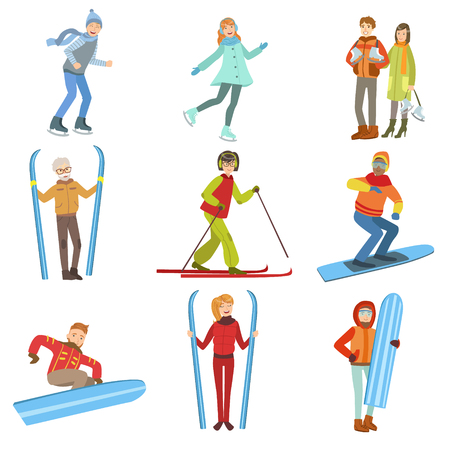 Menschen und Wintersport Illustrationen auf weißen Hintergrund. Vereinfachte Cartoon-Figuren Set