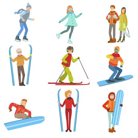 Mensen- en wintersportillustraties geïsoleerd op witte achtergrond. Vereenvoudigde Cartoon Characters Set