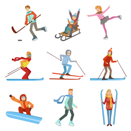 Ludzie robią sporty zimowe ilustracje wyizolowanych na białym tle. Uproszczone Zestaw postaci z kreskówek Ilustracje wektorowe