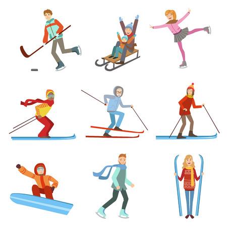 Mensen die Wintersport Illustraties Op Een Witte Achtergrond. Vereenvoudigde Stripfiguren Set