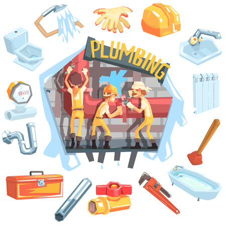 rupture: Three Plumbers At Work Surrounded By Profession Related Objects Cool Colorful Vector Illustration In Stylized Geometric Cartoon Design