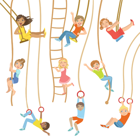 sports equipment: Kids On Swings And Other Rope Sports Equipment Set Of Simple Design Illustrations In Cute Fun Cartoon Style Isolated On White Background Illustration
