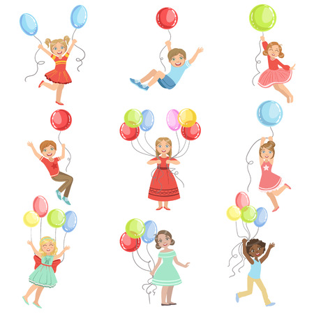 Kids With Party Balloons Set Of Simple Design Illustrations In Cute Fun Cartoon Style Isolated On White Background Illustration