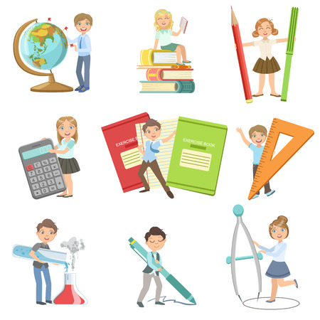 Kids With Giant School Attributes Set Of Simple Design Illustrations In Cute Fun Cartoon Style Isolated On White Background Ilustrace