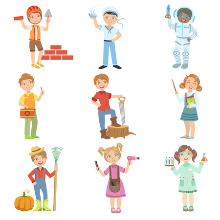 Kids And Their Dream Jobs Bright Color Cartoon Simple Style Flat Vector Set Of Stickers Isolated On White Background