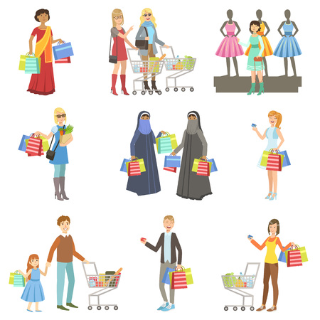 Verschillende Mensen In Shopping Mall Helder Kleur Cartoon Simple Style Platte Vector reeks stickers Op Een Witte Achtergrond