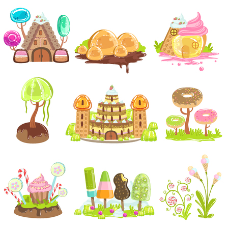 girly: Fantasy Landscape Elements Made Of Sweets And Candy. Bright Color Girly Design Landscaping Objects Set Of Flat Vector Icons. Illustration