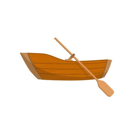 Barca di legno con una illustrazione vettoriale piatto stile semplice Peddle luminoso del fumetto di colore isolato su sfondo bianco