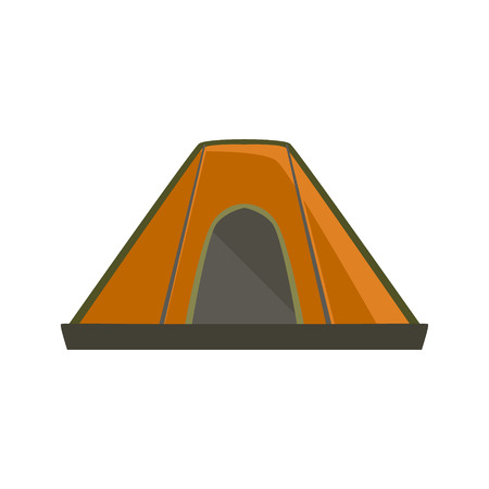 Orange Tarpaulin Camping Tent Bright Color Cartoon Simple Style Flat Vector Illustration Isolated On White Background Illustration