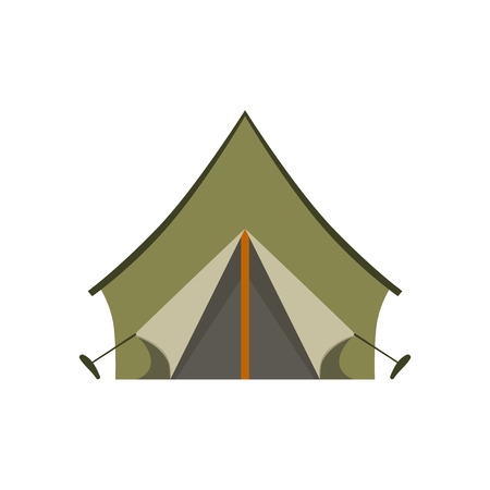 tarpaulin: Khaki Tarpauline Camping Tent Bright Color Cartoon Simple Style Flat Vector Illustration Isolated On White Background