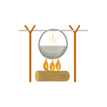 Pot Warming Up On Camp Fire Flat Vector Illustration Isolated On White Background Illustration