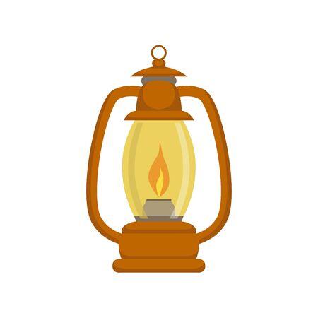 oldschool: Old-school Kerosene Lamp Bright Color Cartoon Simple Style Flat Vector Illustration Isolated On White Background Illustration