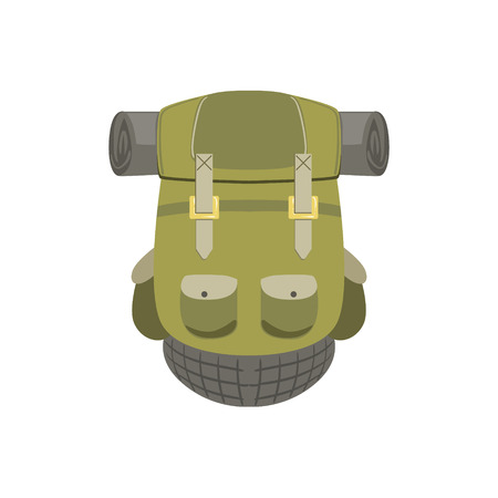 Green Hiking Backpack With Rolled Matrass Bright Color Cartoon Simple Style Flat Vector Illustration Isolated On White Background