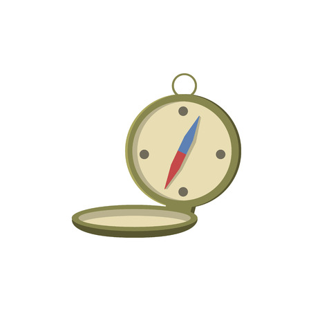 oldschool: Old-school Pocket Compass Open Bright Color Cartoon Simple Style Flat Vector Illustration Isolated On White Background