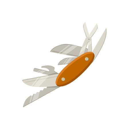 awl: Swiss Multitool Knife With Open Blades Bright Color Cartoon Simple Style Flat Vector Illustration Isolated On White Background