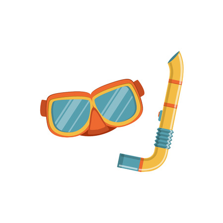 tempered: Diving Mask And Snorkel Bright Color Cartoon Simple Style Flat Vector Illustration Isolated On White Background Illustration