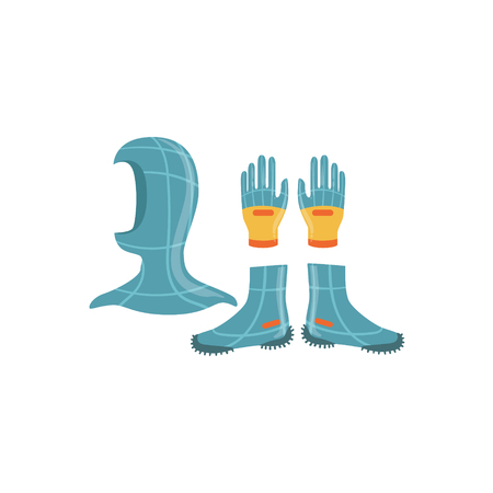 neoprene: Neoprene Gloves, Hood And Boots For Diving Bright Color Cartoon Simple Style Flat Vector Illustration Isolated On White Background Illustration