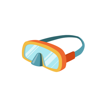 strap: Scuba Diving Mask With Strap Bright Color Cartoon Simple Style Flat Vector Illustration Isolated On White Background Illustration