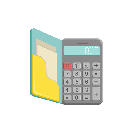 oldschool: Old-School Calculator With Buttons Bright Color Cartoon Simple Style Flat Vector Illustration Isolated On White Background