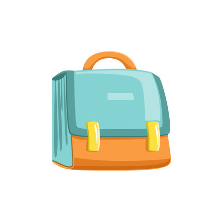 schoolbag: Blue And Orange Schoolbag Bright Color Cartoon Simple Style Flat Vector Illustration Isolated On White Background
