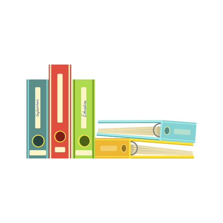file folders: Five Colorful File Folders Bright Color Cartoon Simple Style Flat Vector Illustration Isolated On White Background Illustration