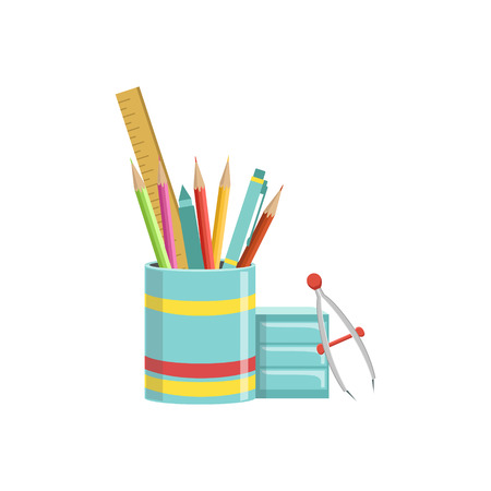 school kit: Set of School Utensils In Plactic Cup Bright Color Cartoon Simple Style Flat Vector Illustration Isolated On White Background Illustration