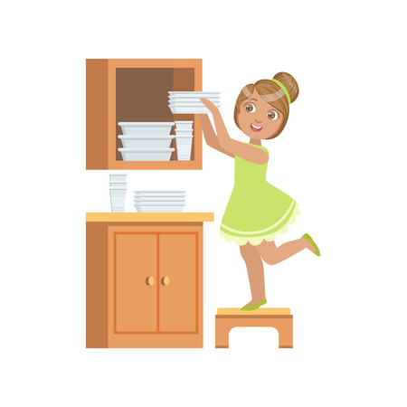 Girl Putting The Plates In Cupboard Simple Design Illustration In Cute Fun Cartoon Style Isolated On White Background Vectores