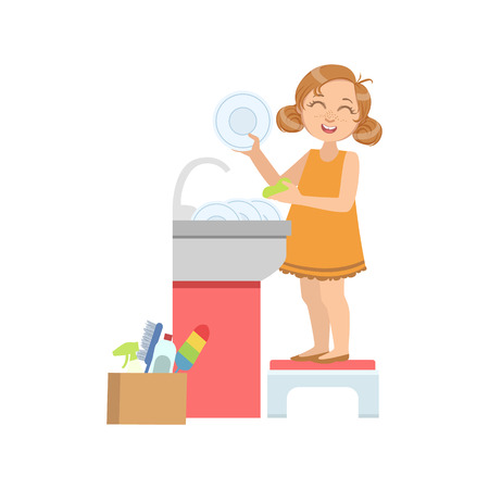 simple girl: Girl Washing The Dishes In Tap Simple Design Illustration In Cute Fun Cartoon Style Isolated On White Background