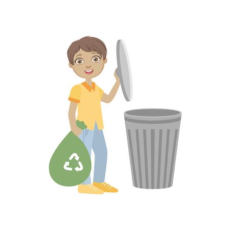 Boy Taking Out Recycling Vuilniszak Eenvoudig Ontwerp Illustratie In de Pret Cartoon Stijl Op Een Witte Achtergrond