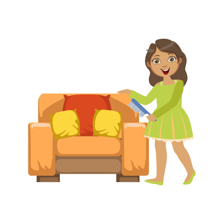 clean up: Girl Cleaning Dust Off Armchair WIth Brush Simple Design Illustration In Cute Fun Cartoon Style Isolated On White Background