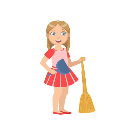 duster: Girl Holding The Broom And Duster Simple Design Illustration In Cute Fun Cartoon Style Isolated On White Background Illustration