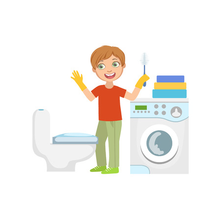 Boy Cleaning The Toilet With Brush In Bathroom Simple Design Illustration In Cute Fun Cartoon Style Isolated On White Background