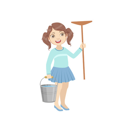 Girl Holding The Mop And Water Bucket Simple Design Illustration In Cute Fun Cartoon Style Isolated On White Background
