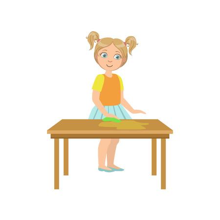 Chica limpiar la mesa de madera del diseño simple ilustración de estilo de dibujos animados lindo divertido aislados en fondo blanco