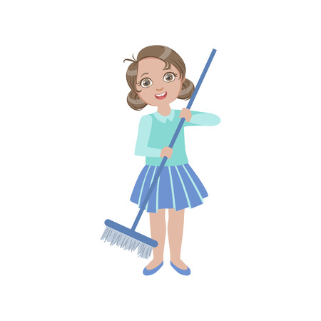 simple girl: Girl Sweeping The Floor With The Broom Simple Design Illustration In Cute Fun Cartoon Style Isolated On White Background Illustration