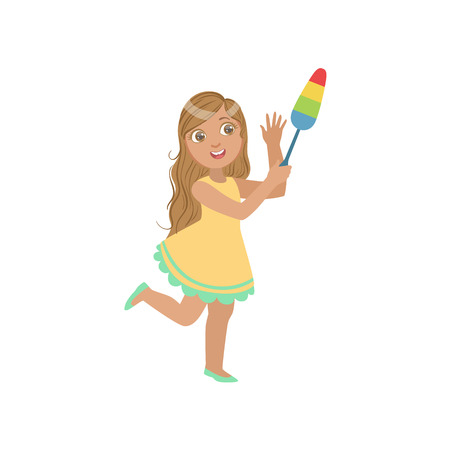 Girl Cleaning Up With Dust Brush Simple Design Illustration In Cute Fun Cartoon Style Isolated On White Background Illustration