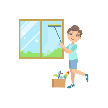 wiper: Boy Washing The Window With Wiper Simple Design Illustration In Cute Fun Cartoon Style Isolated On White Background