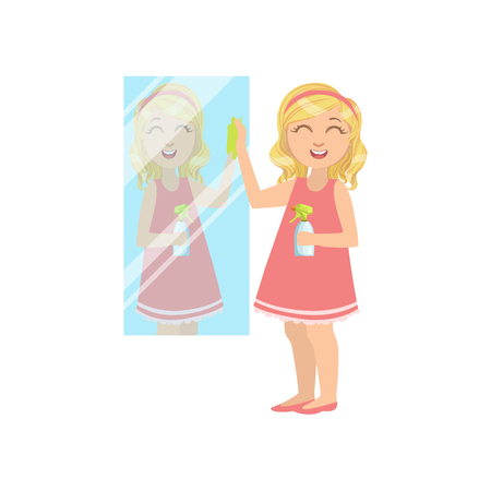simple girl: Girl Cleaning The Mirror Simple Design Illustration In Cute Fun Cartoon Style Isolated On White Background
