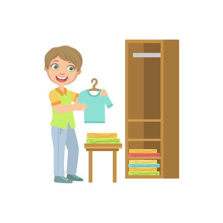 laundry hanger: Boy Putting Clean Clothes In Dresser Simple Design Illustration In Cute Fun Cartoon Style Isolated On White Background