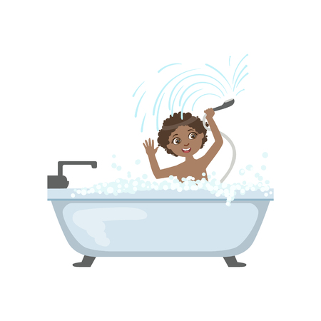 boy bath: Boy Taking The Bath And Playing With Shower Simple Design Illustration In Cute Fun Cartoon Style Isolated On White Background