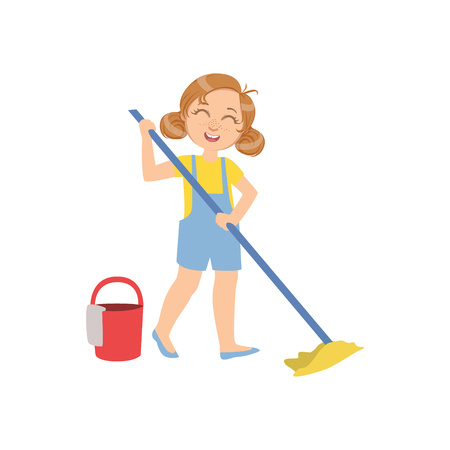 Girl Mopping The Floor With Bucket Simple Design Illustration In Cute Fun Cartoon Style Isolated On White Background Vectores