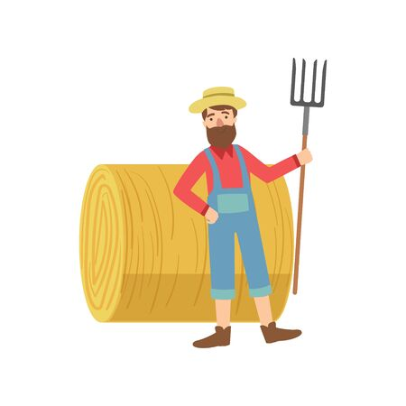 jumpsuit: Farmer With The Beard With Hay Stack Roll Simple Childish Flat Colorful Illustration On White Background