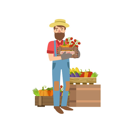 Farmer With Beard Holding Wooden Crate With Vegetables Simple Childish Flat Colorful Illustration On White Background Illustration