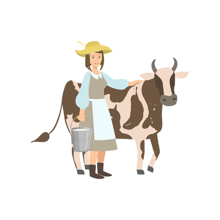 milker: Milkmaid With Cow And Metal Bucket With Milk Simple Childish Flat Colorful Illustration On White Background